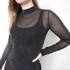 Dynamite Sparkly Mesh Mock Neck Top